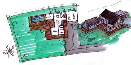 dessin maison bois