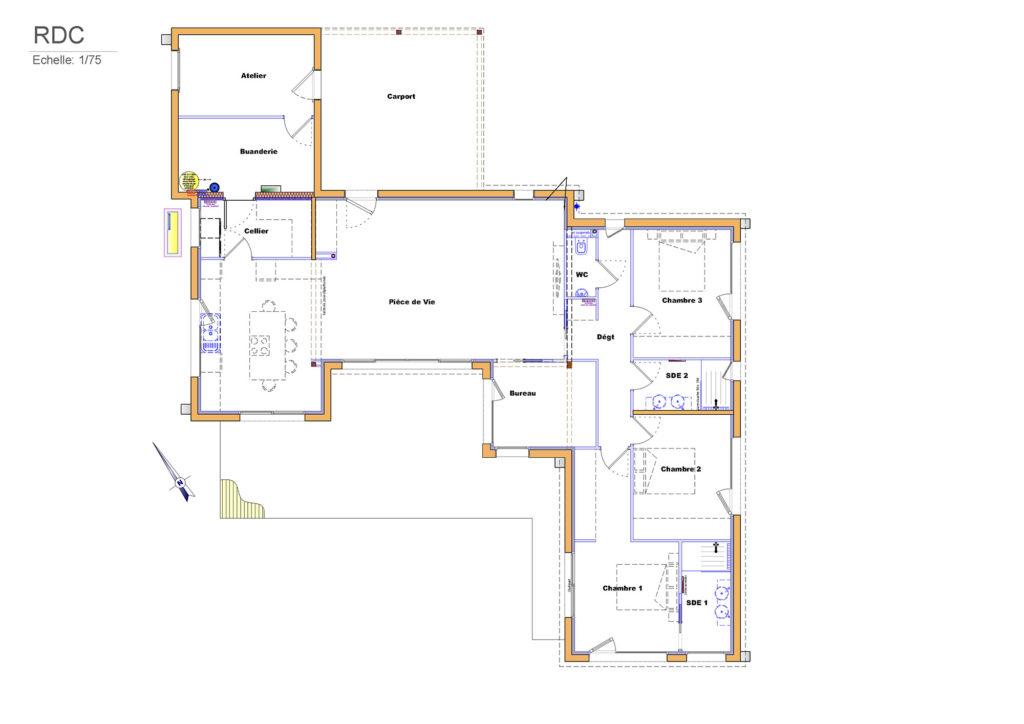 Plan de la maison - rez-de-chaussée