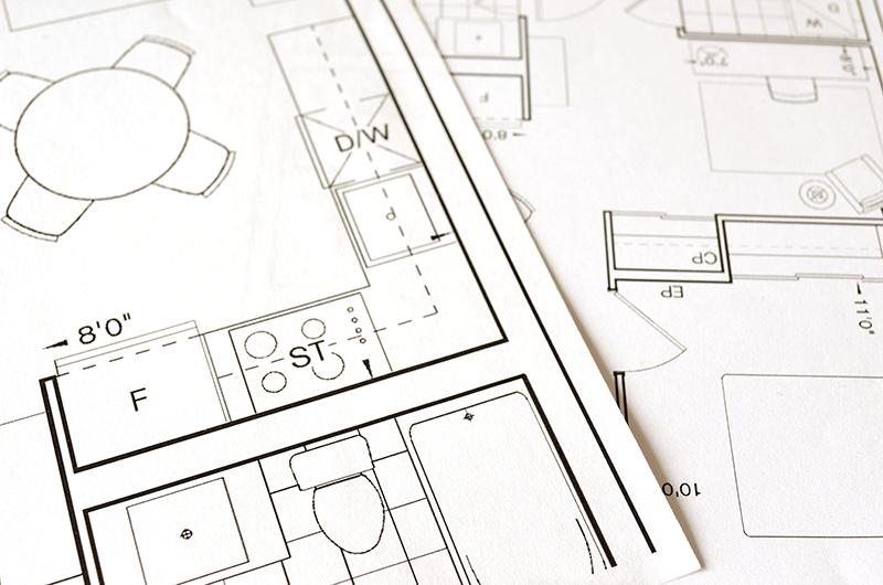 Plan d'une maison en construction